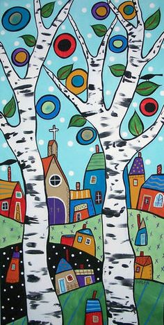 2 Birch Landscape, Acrylic On Stretched Canvas, Ready To Hang, Copyrighted, Arte Popular, Naive Art, Whimsical Art, Art Plastique, Tree Art, Doodle Art, Painted Rocks, Art Lessons, Painting & Drawing