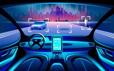 Self driving at night city landscape. Display shows information about the vehicle is moving, GPS, travel time, scan distance Assistance app. Smart Auto, Smart Car, Apple Maps, Tesla Inc, Car Accident Lawyer, Accident Attorney, Volvo Cars, Self Driving, Driving Force