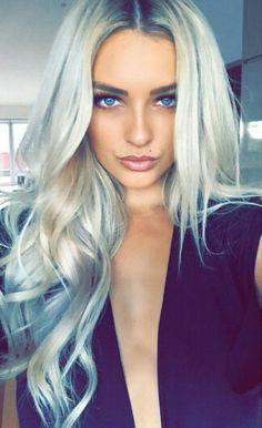 Long hair with waves. Silver hair to copy now.