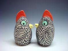Bird salt and pepper shakers by porcelain artist Shoshona Snow