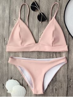 87823e935 Traje de Bikini de Tirantes Finos con Escote Pico