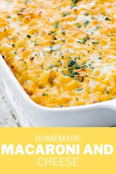 Nothing more comforting than a delicious bowl of homemade macaroni and cheese.  This creamy baked dish is jam-packed with 3 different kinds of cheese in a casserole dish and is nothing short of amazing.  You can also make this recipe in an instant pot of right on the stovetop.  #macaroniandcheese #cheese #comfortfoods #dinner Easy Macaroni Salad, Macaroni N Cheese Recipe, Cheese Recipes, Pasta Dishes, Food Dishes, Main Dishes, Side Dishes, Casserole Dishes, Casserole Recipes