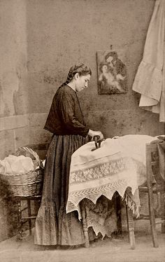 """La Planchadora by ookami_dou, via Flickr; notation: From a scarce CDV album of mexican occupationals made by the studio """"Cruces y Campa"""" in the 1860s.  The album contains 40 views of occupations, vendors and marketeers, a portrait of a woman (maybe the owner) and a view of the """"three Naoleons""""."""