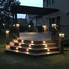 Dekor DOT's are the smallest, brightest lights you can add to your deck. Backyard Patio Designs, Backyard Landscaping, Backyard Decks, Deck Patio, Diy Deck, Backyard Makeover, Decks And Porches, Bungalows, Outdoor Living