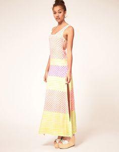Heti's Colours Neon Hand Block Printed Racer Maxi Dress. Slit so sexy.