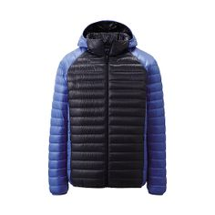 This blue and black colour block men's Ultra Light Down parka can easily be transported when you're not wearing it by being put in its small carry pouch. #ULD