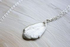 Kalanchoe Necklace - long silver necklace, succulent leaf jewelry, inspired by nature