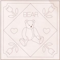 Sashiko Sampler with Preprinted Design - Bear With Hearts
