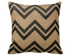 Burlap Black Chevron Zig Zag Stripes Throw Pillow Cover - Jute Geometric - 14x14 16x16 18x18 - Envelope Pillow Case Cushion Cover - Decor