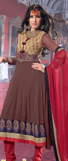 b12800296a5a Coffee  Brown and Fawn Viscose  Georgette  Churidar Kameez with  Dupatta    US