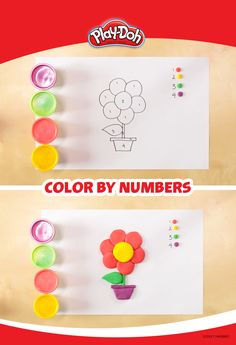 Here's a Play-Doh game that's a take on the classic color-by-numbers. Find or create a simple coloring book image like this one, then grab some cans of compound and  label them to correspond to numbers on the image. It'll help them work on their number recognition and fine motor skills all in one fun activity!