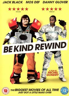 Be kind rewind (2007).  This makes me laugh, it is a zany but gentle movie...