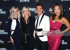 DWTS judge Julianne Hough, guest judge Olivia Newton-John and DWTS judges Bruno Tonioli and Carrie Ann Inaba attend 'Dancing with the Stars' Season 21 at CBS Televison City on October 19, 2015 in Los Angeles, California.