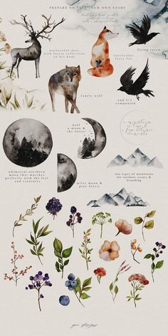 Watercolor Paper Texture, Watercolor Design, Watercolor Flowers, Watercolor Deer, Watercolour Mountains, Drawing Flowers, Green Watercolor, Tattoo Watercolor, Watercolor Background