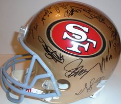 2012 SF 49ers team signed Riddell full size football helmet w/ proof photo.  Proof photo of the 49ers signing will be included with your purchase along with a COA issued from Southwestconnection-Memorabilia, guaranteeing the item to pass authentication services from PSA/DNA or JSA. Free USPS shipping. www.AutographedwithProof.com is your one stop for autographed collectibles from San Francisco sports teams. Check back with us often, as we are always obtaining new items.