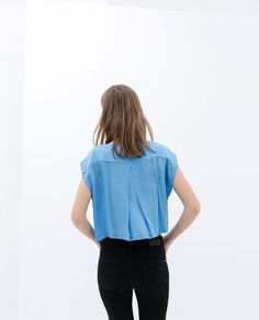 ZARA - NEW COLLECTION - BLOUSE WITH CROPPED SLEEVE