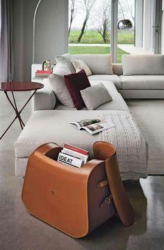 NUNO Low tanned leather stool Manufacturer Zanotta design by Kensaku Oshiro Wicker Furniture, Find Furniture, Furniture Design, Room Accessories, Interior Accessories, Leather Accessories, Leather Stool, Living Room Sets, Sofa Chair