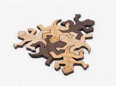 Set of 3 Laser Cut Wooden Tessellation Lizard by LunarLasersLTD