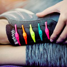 Neon Rainbow - Model Wearing HICKIES Elastic Laces  - 3