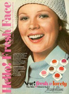 KIM BASINGER in Maybelline , 1975... lip gloss in pots <3