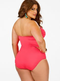 """""""Fiji"""" Sweetheart Ruched Plus Size Swimsuit w/ Removable Strap- Coral - What's New - Monif C"""