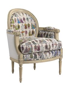 U-3076-0427-WHT Celine Medallion Back Chair in SE-FHN-943 Costumes 1530 White Hemp and SE-FHN-944 NM Collection Hemp available at French Heritage.