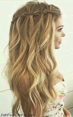 Loose waterfall braid for summer hair