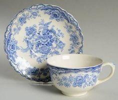 Crown Ducal Bristol Blue Oversized Cup & Saucer Set, Fine China Dinnerware Blu