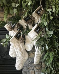 "JoLee @ Sage Lantern on Instagram: ""The stockings were hung by the chimney with care ... • When I decided to do asymmetrical garland on the mantel I knew I also wanted all 5…"""