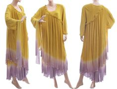 20de43546c Lagenlook two layers flared maxi dress in yellow lilac XL-XXL Dress Making