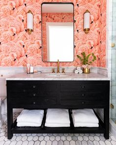 Still our first love, here is Albany Flamingos looking lovely in this bathroom! Thanks for letting us share 💕 Flamingo Bathroom, Pink Bathroom Tiles, Pink Tiles, Bathroom Wallpaper, Wood Bathroom, Home Wallpaper, Bathroom Interior, Bathrooms, Downstairs Bathroom