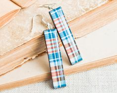 Blue rectangle earrings  Plaid jewelry by Lepun on Etsy, $15.00