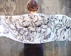 Women scarf Original Art hand painted Flowing Roses by Shovava, $48.00