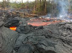 The lava delta has been active since New Year's Eve.