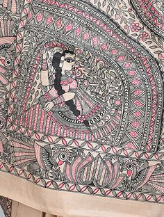 Madhubani Art, Madhubani Painting, Special Pictures, Indian Art Paintings, Tussar Silk Saree, Silk Sarees Online, Indian Designer Outfits, Tapestry, Beige