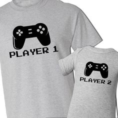 Video game player 1 and player 2 matching dad and kiddo t-shirt or bodysuit gift set - great gift for video game loving dad