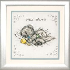Anchor Sweet Dreams - Tatty Teddy Cross Stitch Kit. Cross stitch kit contains 14 count White Aida, pre-sorted Anchor floss, alphabet for personalizing, needle,