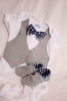 Baby boy shirt, bow tie shirt, Baby boy photo prop, Blue and gray baby boy shirt. $37.99, via Etsy.