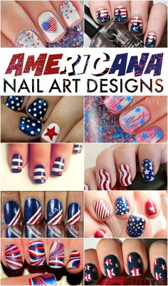 FOURTH OF JULY NAIL ART DESIGNS - If you are looking to paint your nails for the Fourth of July these nail art designs are so cute and mostly pretty simple. Get your red, white and blue on! White Nails, Red Nails, Love Nails, How To Do Nails, Hair And Nails, Pretty Nails, Nail Art Designs, July 4th Nails Designs, Diy Fourth Of July Nails