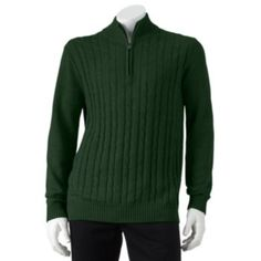 Croft & Barrow Cable-Knit 1/4-Zip Sweater - Men