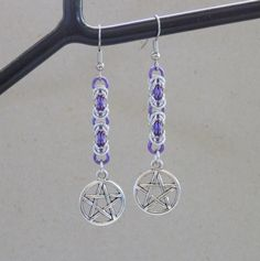 Handmade #Supernatural inspired, Chainmaille in Purple and Silver, Pentagram Charm Earrings