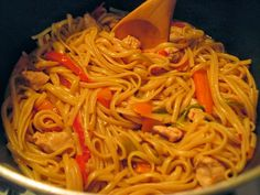 One pot wonder chicken lo mein. Will try with different seasonings...needs sesame oil and oyster sauce