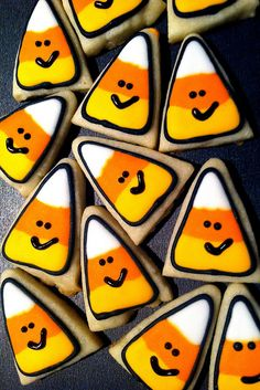 Mini Candy Corn Cookies  by CookiesBySteph, via Flickr
