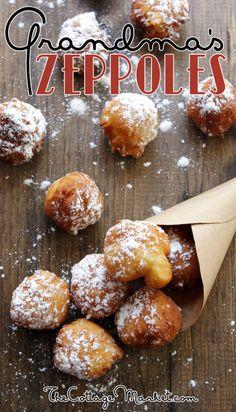 Grandma's Zeppole {Quick & Easy} Recipe! desserts, Grandma's Zeppole {Quick & Easy} - The Cottage Market Mini Desserts, Just Desserts, Delicious Desserts, Yummy Food, Tasty, Gourmet Desserts, Health Desserts, Plated Desserts, Desserts With Biscuits