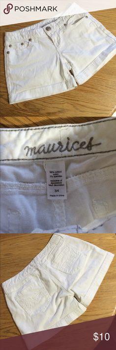 Maurice's white denim shorts. Size 3/4. Maurice's white denim shorts size 3/4. Like new! Maurices Shorts