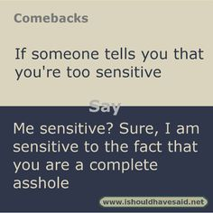 Use our great comebacks when somebody calls says you're too sensitive. Check out our top ten comeback lists at www.ishouldhavenet.net.