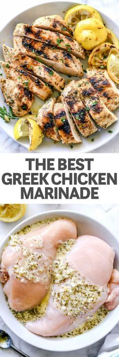 Chicken marinade recipes - THE BEST GREEK CHICKEN MARINADE This easy chicken marinade infuses chicken of any cut with the classic Greek flavors of lemon, garlic and oregano plus Greek yogurt for a more tender bite foodiecrush Turkey Recipes, Meat Recipes, Cooking Recipes, Healthy Recipes, Grilling Recipes, Recipes Dinner, Potato Recipes, Dessert Recipes, Gastronomia