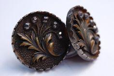 Antique Buttons 3D metal flower leaf cut steel pie crust rim 2 buttons 1 1/4 in
