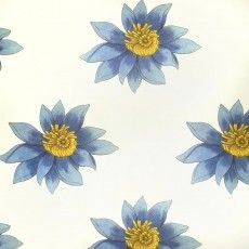 Abnormals Anonymous Floria Wallpaper in color Amelie. Blue floral wallcovering.