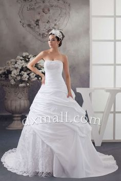 Pick Up Wedding Dresses Strapless Court Train Taffeta Satin White 01001090056